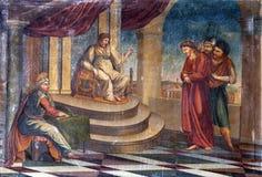de 1st Posten van het Kruis, Jesus wordt veroordeeld aan dood Stock Afbeeldingen