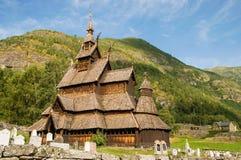 De staafkerk (houten kerk) Borgund, Noorwegen Royalty-vrije Stock Fotografie