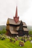 De staafkerk in Ringebu, rond jaar 1220 wordt gebouwd, is één dat Royalty-vrije Stock Foto's