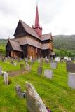De staafkerk in Ringebu, rond jaar 1220 wordt gebouwd, is één dat Stock Afbeelding