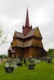 De staafkerk in Ringebu, rond jaar 1220 wordt gebouwd, is één dat Royalty-vrije Stock Foto