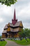 De staafkerk in Ringebu, rond jaar 1220 wordt gebouwd, is één dat Stock Foto