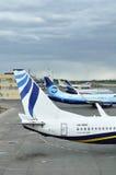 De staarten van vliegtuigen die zich bij het parkeren in de Internationale luchthaven van Pulkovo in heilige-Petersburg, Rusland  Stock Afbeeldingen