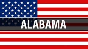 De staat van Alabama op een de vlagachtergrond van de V.S., het 3D teruggeven De vlag die van de Verenigde Staten van Amerika in  vector illustratie