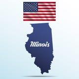 De staat van Illinois met schaduw met de golvende vlag van de V.S. Stock Foto