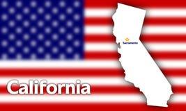 De staatscontour van Californië Stock Foto's
