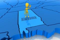 De staatsoverzicht van Alabama met geel stokcijfer Royalty-vrije Stock Foto