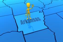 De staatsoverzicht van Arkansas met geel stokcijfer Royalty-vrije Stock Fotografie
