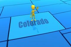 De staatsoverzicht van Colorado met geel stokcijfer Royalty-vrije Stock Afbeelding