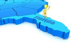 De staatsoverzicht van Florida met geel stokcijfer Stock Afbeeldingen
