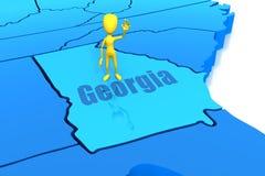 De staatsoverzicht van Georgië met geel stokcijfer Royalty-vrije Stock Afbeelding