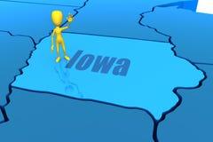 De staatsoverzicht van Iowa met geel stokcijfer Royalty-vrije Stock Foto's