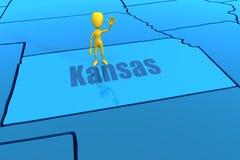De staatsoverzicht van Kansas met geel stokcijfer Stock Afbeelding