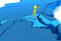 De staatsoverzicht van Maryland met geel stokcijfer Stock Foto's
