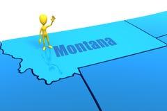 De staatsoverzicht van Montana met geel stokcijfer Royalty-vrije Stock Fotografie
