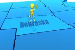 De staatsoverzicht van Nebraska met geel stokcijfer Royalty-vrije Stock Foto's