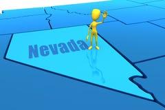 De staatsoverzicht van Nevada met geel stokcijfer Stock Afbeelding