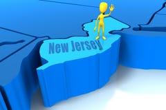 De staatsoverzicht van New Jersey met geel stokcijfer Royalty-vrije Stock Foto