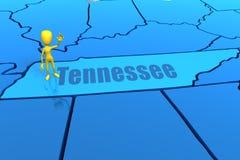 De staatsoverzicht van Tennessee met geel stokcijfer Stock Foto's