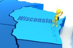 De staatsoverzicht van Wisconsin met geel stokcijfer Royalty-vrije Stock Afbeelding