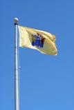 De staatsvlag van New Jersey tegen blauwe hemel Stock Foto's