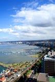 De stad & de havenlandschap van Durban stock fotografie