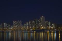 De stad bij nacht moskou Stock Foto