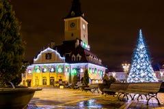 De stad bij de voet van Onderstel Tamper bij nachthorloge Royalty-vrije Stock Afbeeldingen