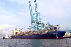 De Stad die van het containerschip van Hongkong met containerskranen werken Royalty-vrije Stock Afbeeldingen