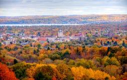 De stad in Dwarsstad Michigan royalty-vrije stock foto's