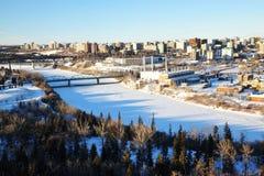 De stad Edmonton van de winter Stock Foto