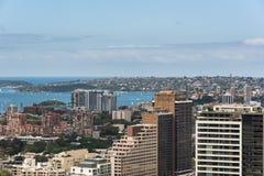 De stad en de baai van Sydney van hoogte Royalty-vrije Stock Afbeelding