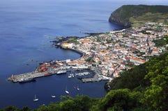 De stad en de haven van Velas Stock Fotografie
