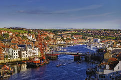 De stad en de haven van Whitby Stock Foto