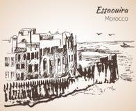 De stad en de toevlucht van de Essaouirahaven op de Atlantische kust van Morocco's stock illustratie
