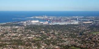 De stad en de voorsteden van Wollongong Stock Afbeelding