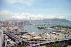 De Stad en de Wegen van Hongkong Stock Afbeeldingen