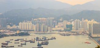 De stad en de havenmening van Hong Kong stock foto