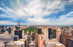 De Stad en het Central Park van New York Stock Afbeeldingen