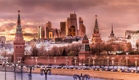 De Stad en het Kremlin van Moskou Royalty-vrije Stock Foto
