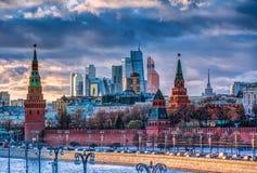 De Stad en het Kremlin van Moskou Royalty-vrije Stock Afbeeldingen