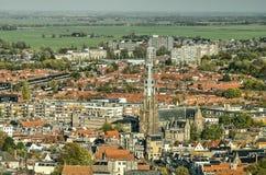 De stad en het landschap van Leeuwarden stock afbeeldingen