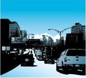 De stad en het verkeer van de binnenstad op weg Stock Foto