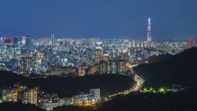 De Stad en Lotte Tower van Seoel, Zuid-Korea Tijdtijdspanne 4K stock video
