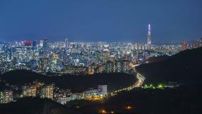 De Stad en Lotte Tower van Seoel, Zuid-Korea Tijdtijdspanne 4K stock footage
