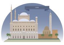De stad en rivier Nijl van Kaïro vector illustratie