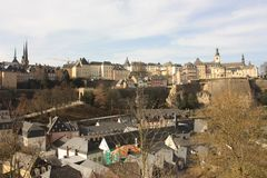 De Stad Europa van panoramaluxemburg stock afbeelding