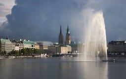 De Stad horizon-Duitsland van Hamburg Stock Fotografie
