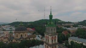 De stad Lviv van de hoogte stock footage