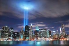 De Stad Manhattan van New York bij nacht Royalty-vrije Stock Afbeelding